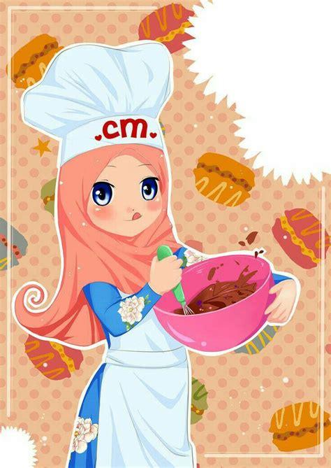 muslimah kartun animasi gambar