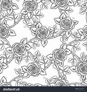 Beautiful Black White Seamless Pattern Roses Stock Vector ...