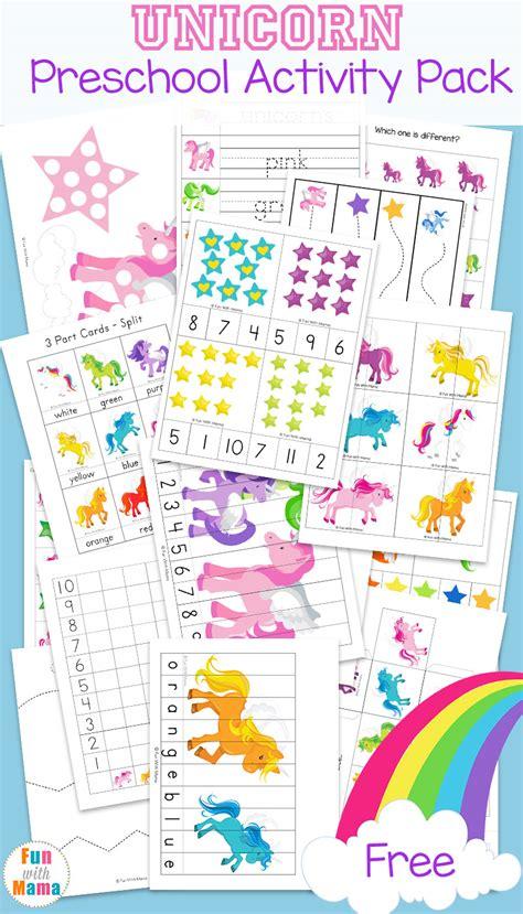 unicorn preschool activity pack with 701 | unicorn preschool learning activity pack