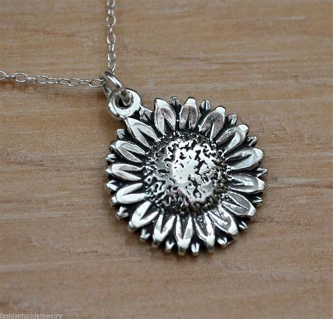 sunflower necklace  sterling silver sunflower charm