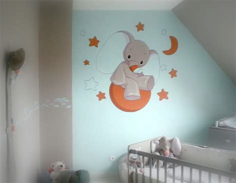 chambre bebe elephant decorations fresques seb peinture