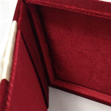 red velvet wedding invitation box  flat hinged lid