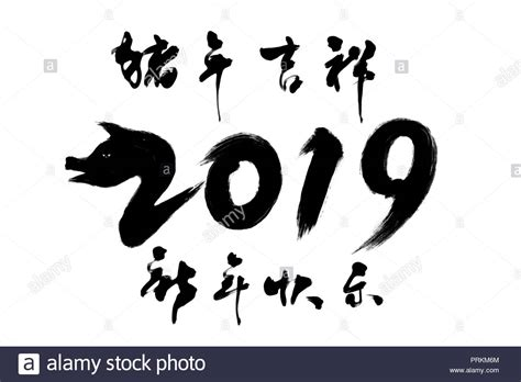 2019 Year Of The Pig Lucky Calligraphy Font Stock Photo