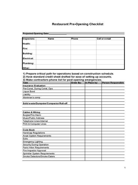 restaurant checklist template   templates