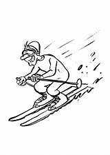 Coloring Skiing Downhill Pages sketch template