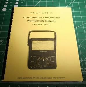 Instruction Manual For Radio Shack  Micronta 22