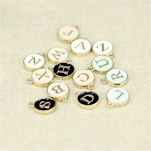 1412mm diy alloy bracelet accessories white enamel small With round metal letter beads