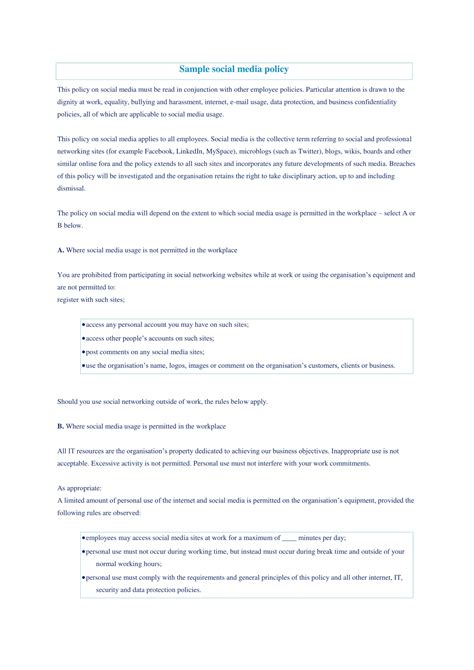 social media policy examples   google docs