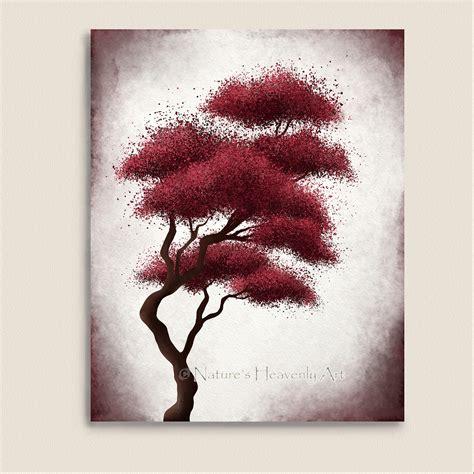 japanese bonsai tree art red wall decor by naturesheavenlyart