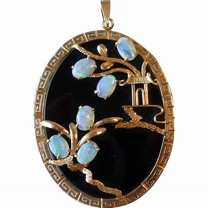 Opal Gold Oval Onyx Pendant Antique 14k