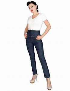 Details about Rock Steady High Waist Jeans Blue Rockabilly ...