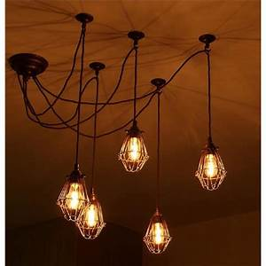Pendant cluster ceiling light with 5 industrial style cage for Cluster pendant lighting