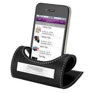 cell phone holder promo items leather desktop mobile phone holder