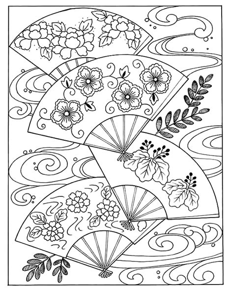 japanese hand fan japan adult coloring pages