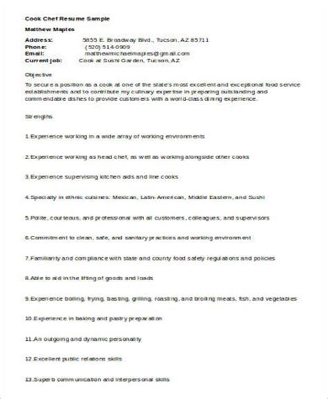 Resume Of Cook Pdf by Sle Cook Resume 8 Exles In Word Pdf