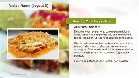 Powerpoint Recipe Template by Recipe Layouts Ppt Template Slide