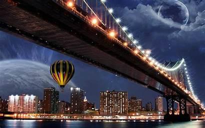 Balloons Bridge Planet Cityscape Wallpapers Backgrounds Desktop