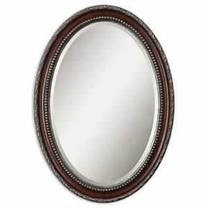 Shop Global Direct Mahogany Beveled Oval Wall Mirror at