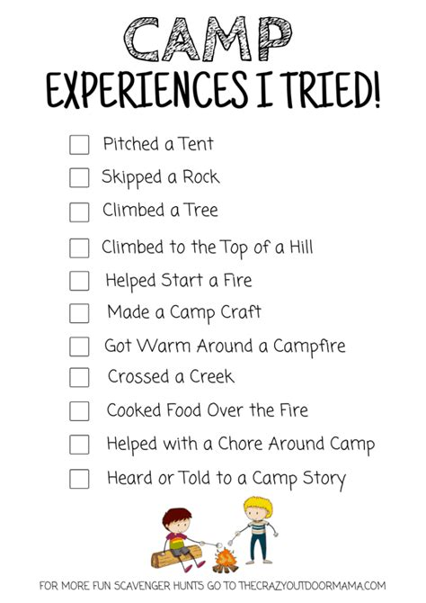 printable camping scavenger hunt idea  experiences