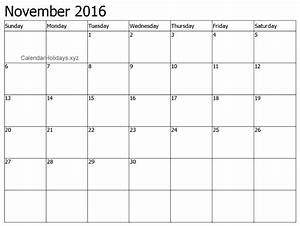 quotnovember 2016 calendar word template and printable With free downloadable calendar templates for word