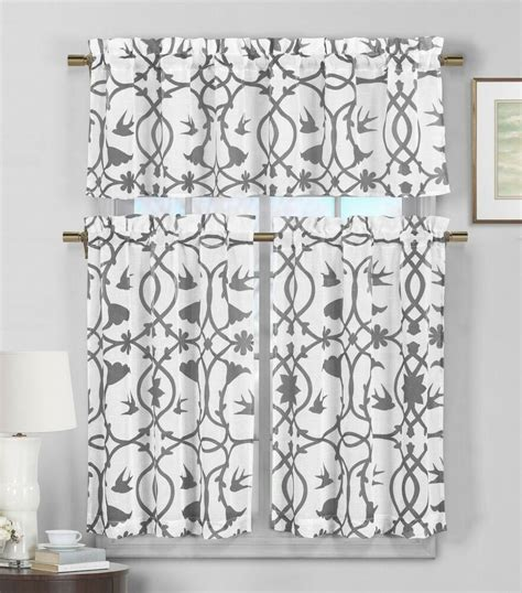 piece semi sheer window curtain set gray  white