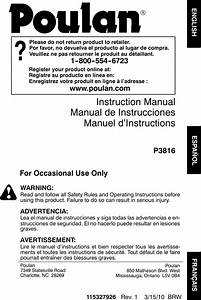 Poulan 115327926 Users Manual Om  P3816  2010 03  Chain