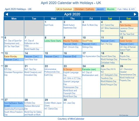 print friendly april uk calendar printing