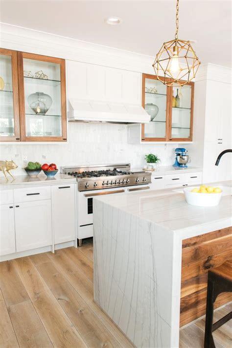 white contemporary kitchen  gold pendant light hgtv