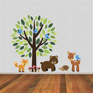 tree with wonderful woodland animals wall sticker by With wonderful ideas woodland animal wall decals