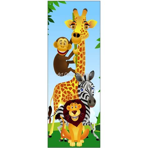 stickers pour porte de chambre sticker de porte enfant animaux de la jungle stickers