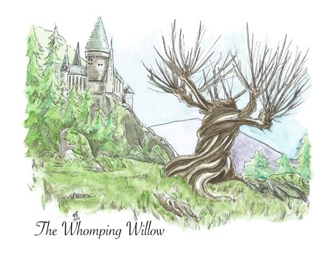 illustration print whomping willow harry potter