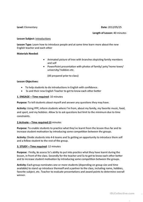 lesson plan  introduction worksheet  esl