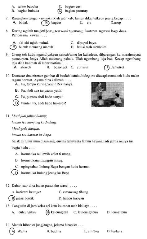Berilah tanda silang ( x ) pada huruf a, b, c, d atau e pada jawaban yang paling benar! Soal Bahasa Sunda Kelas 9 Semester 1 Dan Kunci Jawaban ...