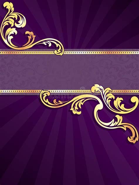 purple vertical banner  gold filigree stock vector
