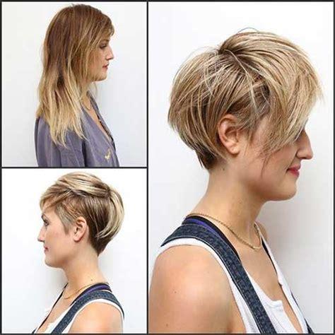 coupes de cheveux courts en couches pour visage rond