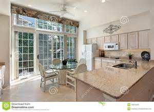floor and tile decor kitchen with sliding doors to patio royalty free stock