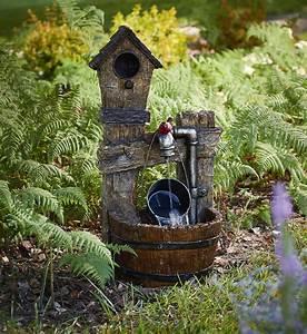 Essential, Garden, Birdhouse, And, Barrel, Fountain, -, Outdoor, Living, -, Outdoor, Decor