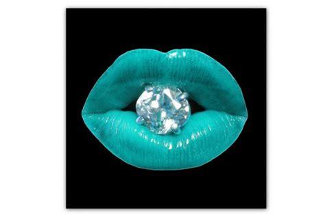 tableau pop bouche diams bleu turquoise 50x50 cm