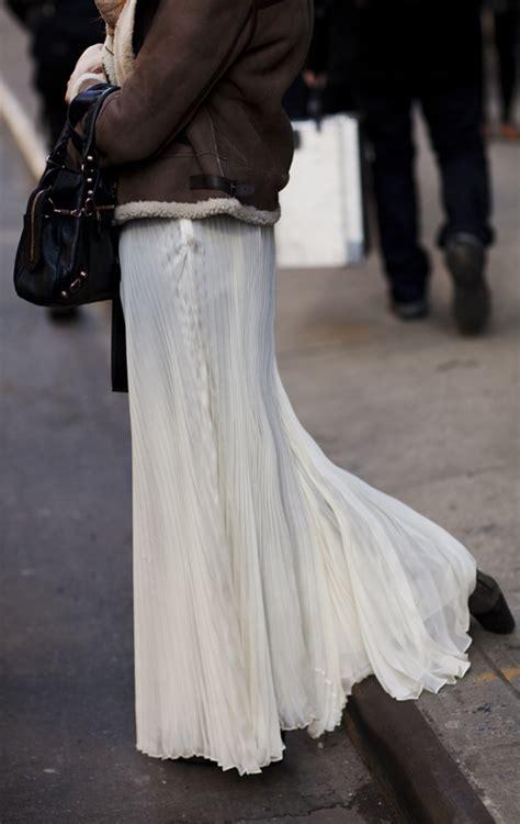 Long Pale Skirts Worn Informally Paris New York
