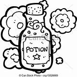 Potion Bottle Cartoon Clip Clipart Drawings Drawing Vector Line Icons Canstockphoto sketch template