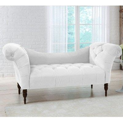 Button Tufted Chaise Settee by Button Tufted Chaise Settee Velvet White Threshold In