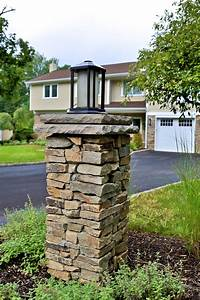 stacked stone light pillar column masonry patios With outdoor lights for driveway columns