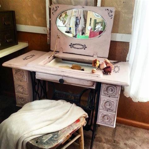 repurposed sewing machine table  vanity hometalk