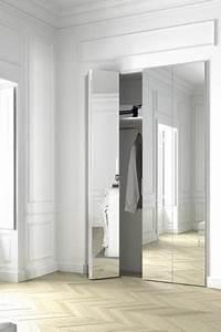 porte de pliante avec miroir argent plooideur spiegel With porte d entrée alu avec miroir salle de bain avec lumiere