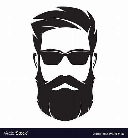 Face Bearded Hipster Character Beard Silhouette Vectorstock