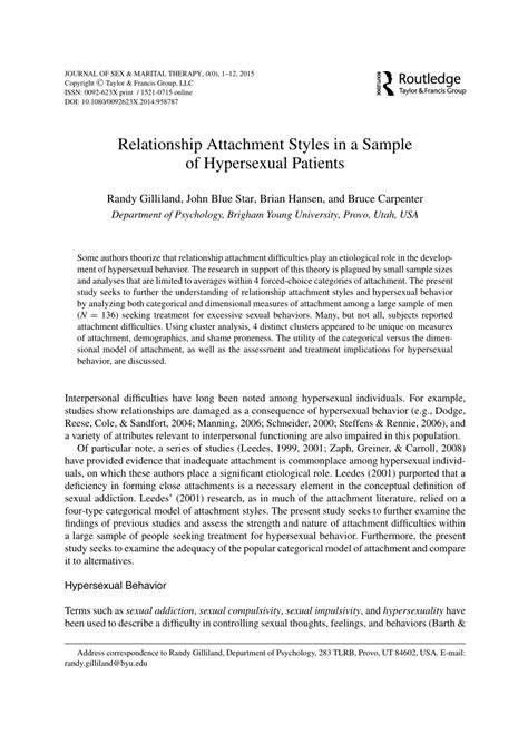 relationship attachment styles   sample