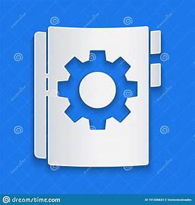 Paper Cut User Manual Icon Isolated On Blue Background