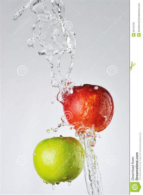how much water is in an apple red green apples and water splash royalty free stock image image 29747376