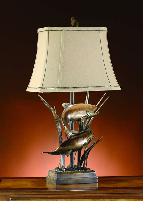 swimming fish nautical themed table lamp linen shade lighting