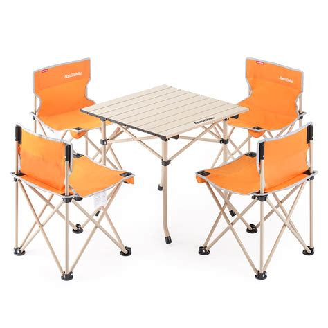 aluminum alloy foldabe table chair set five sets